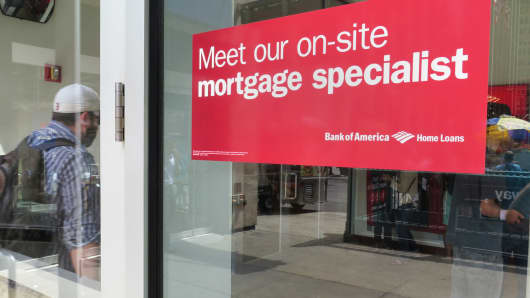 A sign offering mortgage help at a Bank of America branch, New York City.