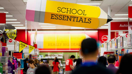 Customers shop for back to school supplies at a Target store in Colma, California.