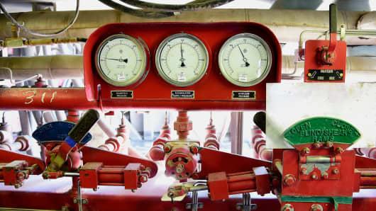 Manual shutdown equipment at an Anadarko Petroleum oil rig in Fort Lupton, Colorado, Aug. 12, 2014.