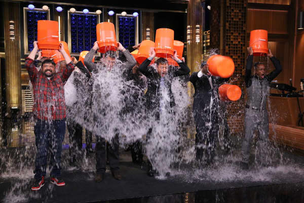 "Guests on ""The Tonight Show Starring Jimmy Fallon"" participate in the 'Ice Bucket Challenge' on August 12, 2014."