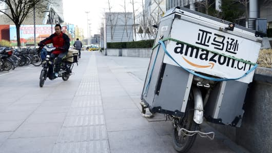 An electric bike used by Amazon.com in Beijing.