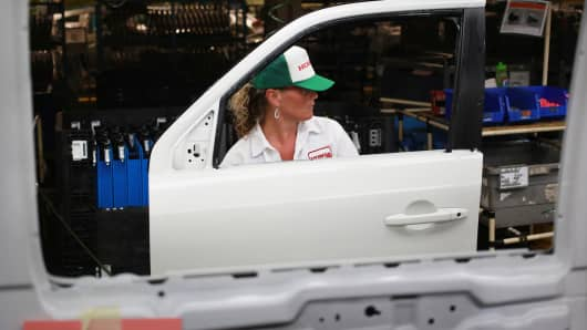 Production of Honda Pilot sports utility vehicles in Lincoln, Alabama, August 12, 2014.