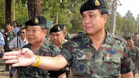 Thai junta leader Prayuth Chan-ocha (R).
