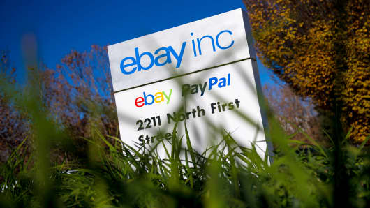 EBay signage at the company's headquarters in San Jose, Calif.