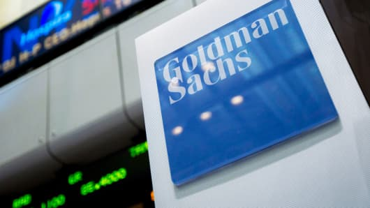 Goldman Sachs signage on the floor of the New York Stock Exchange.