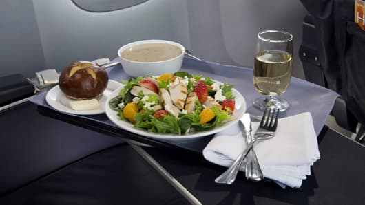 United Airlines' Strawberry Fields salad is one of four new premium-cabin entrée salads on North America flights.