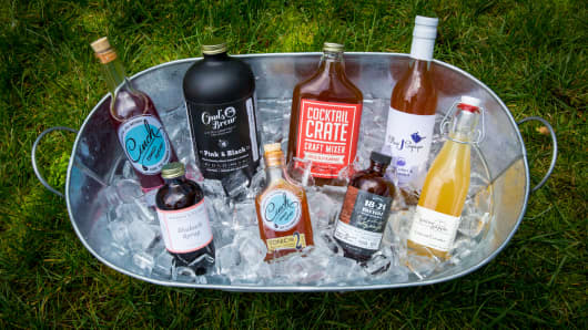 A collection of cocktail syrups for your next cocktail party.