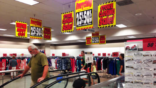 Store closing signs at Sears in the Laguna Hills Mall, Laguna Hills, Calif.