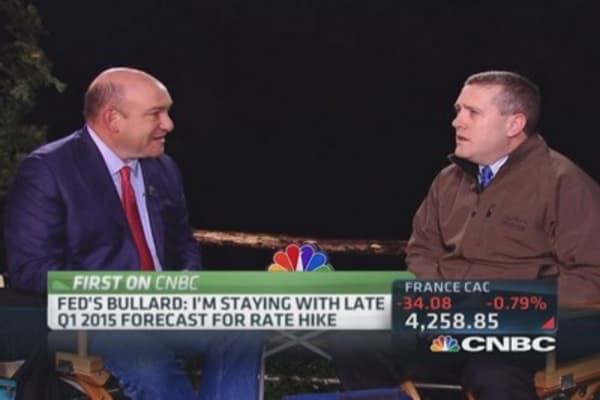 Bullard 'sticking' with end of Q1 2015 rate hike