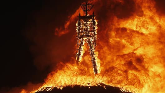 The Man burns during the Burning Man 2013 arts and music festival in Black Rock Desert, Nevada.