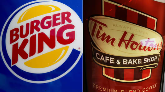 Burger King acquires Tim Hortons.