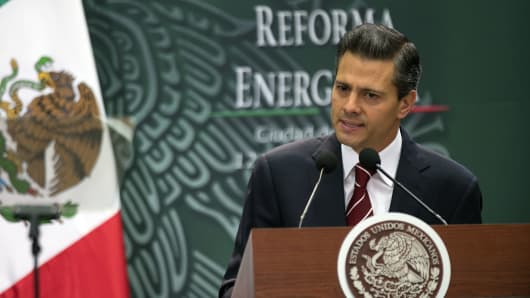 Enrique Peña Nieto, Mexico's president, speaks about energy reform at Los Pinos, the presidential residence, in Mexico City in August 2014.