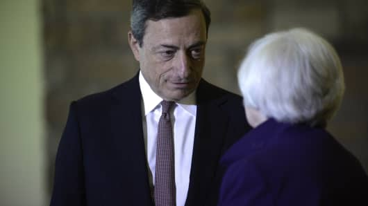 Janet Yellen speaks with Mario Draghi during the Jackson Hole economic symposium in August.