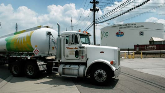 A gas truck pulls into the tanker farm at BP's refinery in Whiting, Indiana
