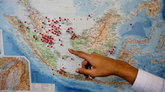 A map inside the IMB's (International Maritime Bureau) Piracy Reporting Centre (located in Kuala Lumpur) shows where pirate attacks have been occurring in recent years.