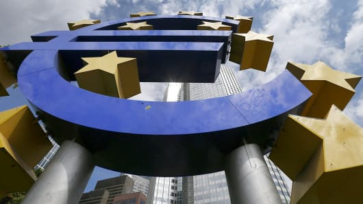Euro logo sign European Central Bank ECB Frankfurt Gerrmany