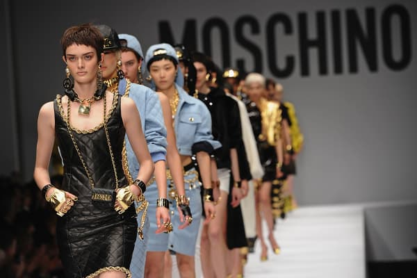 Models walk the runway at the Moschino fashion show at Milan Fashion Week Womenswear Autumn/Winter 2014 in Milan, Italy.