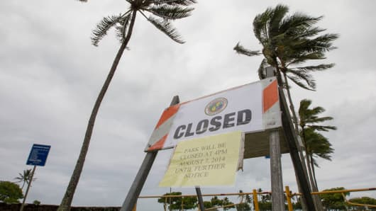 Winds from Tropical Storm Iselle blow palm trees near a sign warning of the closure of Kualoa Regional Park in Honolulu on Friday, Aug. 8, 2014. All of the public parks on Oahu were closed.