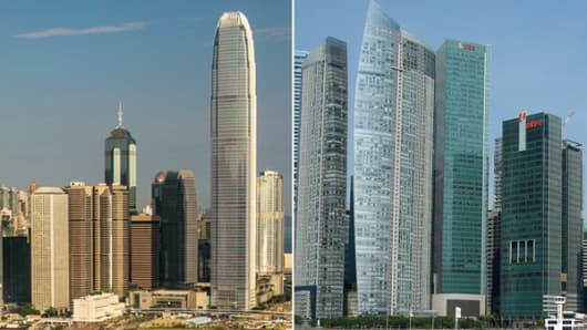 Some firms are now finding Hong Kong, left, less appealing for their Asia headquarters than Singapore, right.