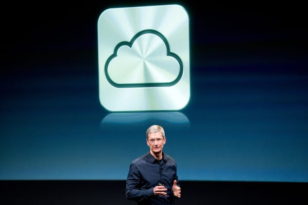 Tim Cook, Apple CEO, speaks about new features of the iCloud service during an event at the company's headquarters in Cupertino, California.