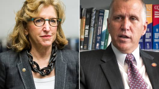 Sen. Kay Hagan and Thom Tillis