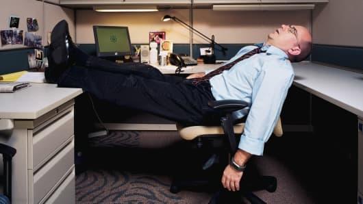 Businessman sleeping lazy