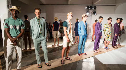 Menswear on display at David Hart's Spring 2015 show in New York City.