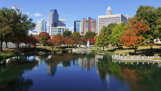 The skyline of Charlotte, N.C., as seen from Marshall Park.