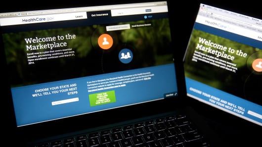 The Healthcare.gov website is displayed on laptop computers in Washington.