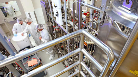 A multiple sclerosis drug is manufactured at the Biogen Idec plant in Cambridge, Mass.