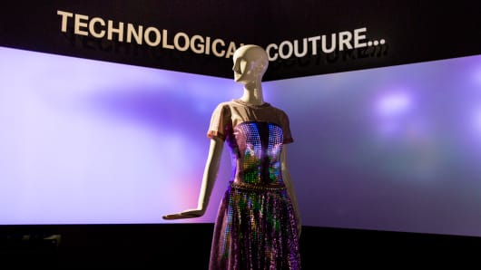 Technological couture from CuteCircuit on display at fashion week in New York. This dress is from the company's haute couture line and has not yet been priced.