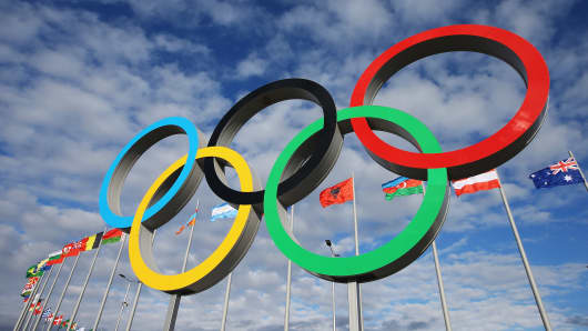 The Olympic Rings are displayed inside the Olympic Park prior to the Sochi 2014 Winter Olympics in Sochi, Russia.