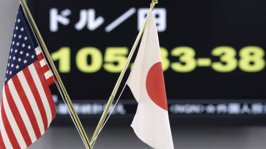 U.S. and Japanese national flags sit on display in front of a monitor displaying the exchange rate of the yen against the U.S. dollar at a foreign exchange brokerage in Tokyo, Japan.