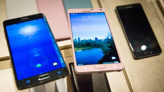 Samsung Galaxy Note Edge and Galaxy Note 4 smartphones on display at MBFW in New York.