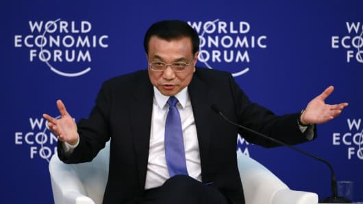 Chinese Premier Li Keqiang speaks during a session of the World Economic Forum (WEF) in Tianjin, China.