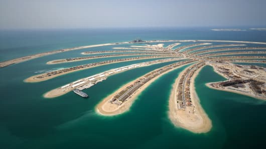 Jumeirah Palm Island Development In Dubai.