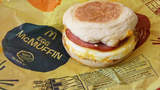 A McDonald's Egg McMuffin breakfast sandwich is shown in San Rafael, Calif.