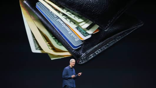 Apple CEO Tim Cook speaks about Apple Pay during an Apple special event at the Flint Center for the Performing Arts on September 9, 2014 in Cupertino, California.
