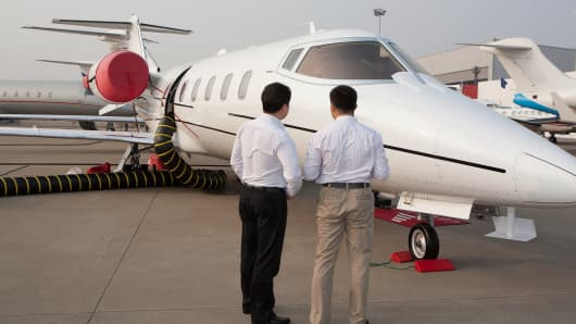 Chinese Businessmen private jet