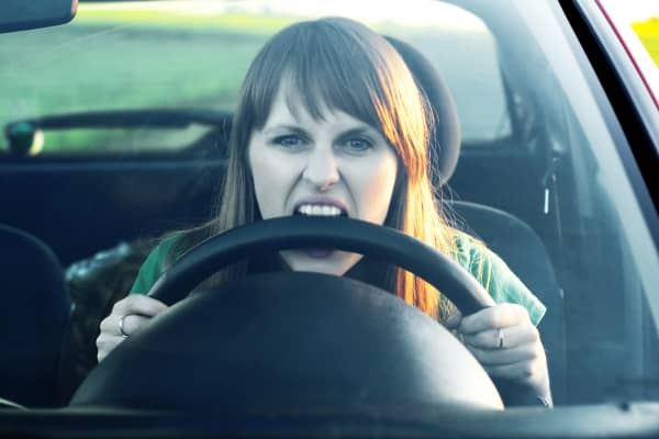 angry driver, road rage, rude driver, driving stress