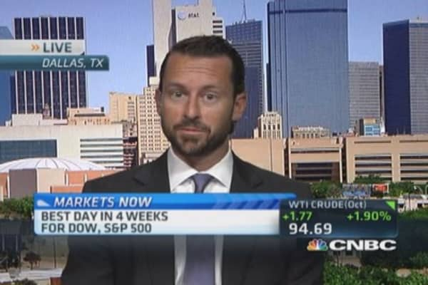 Markets Now: Triple digit Dow gain