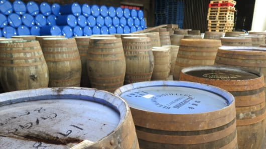 Barrels of Scotch whisky at the Ian Macleod distillery just outside Edinburgh, Scotland.
