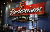 Budweiser display at Anheuser-Busch brewery