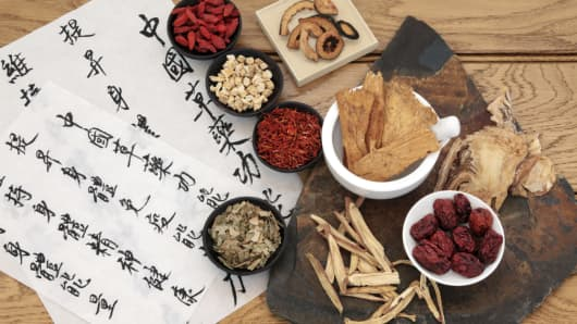A selection of traditional Chinese herbal medicine.