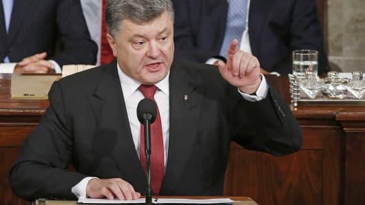 Ukraine's President Petro Poroshenko speaks before Congress