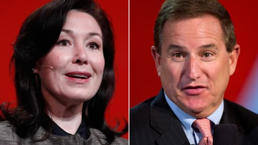 Safra Catz co-president of Oracle Corp. (L) and Mark Hurd, co-president of Oracle Corp. (R).