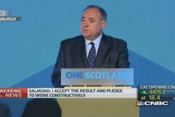 Salmond: I accept results of referendum