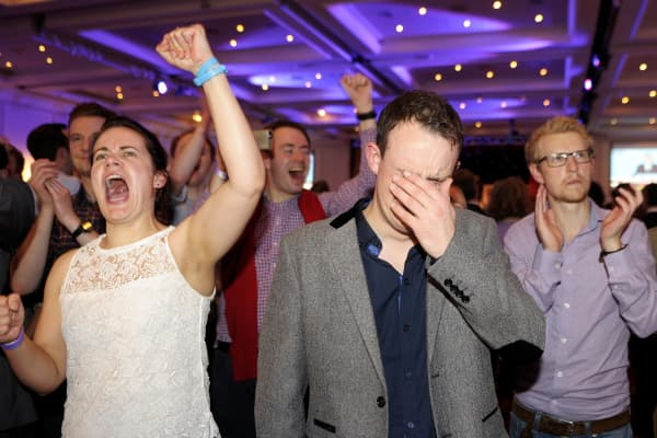 A pro-Union supporter celebrates following the announcement of referendum polling results during a 'Better Together' event in Glasgow, Scotland, on September 19, 2014.