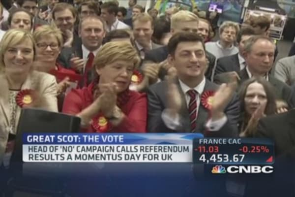 Scotland votes 'no', remains in UK