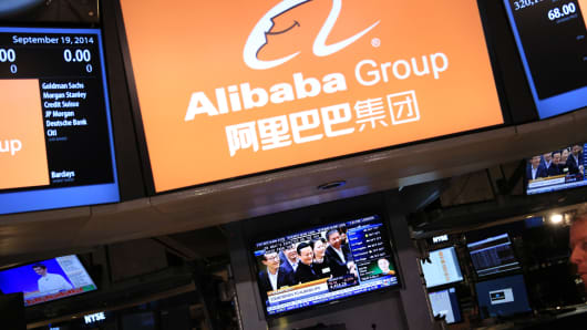 Alibaba Group signage at the New York Stock Exchange during IPO, September 19, 2014.